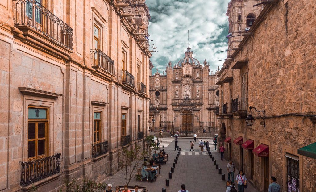 A different vantage point of the Beautiful Colonial Cathedral of Morelia found in Morelia, Michoacan, Mexico