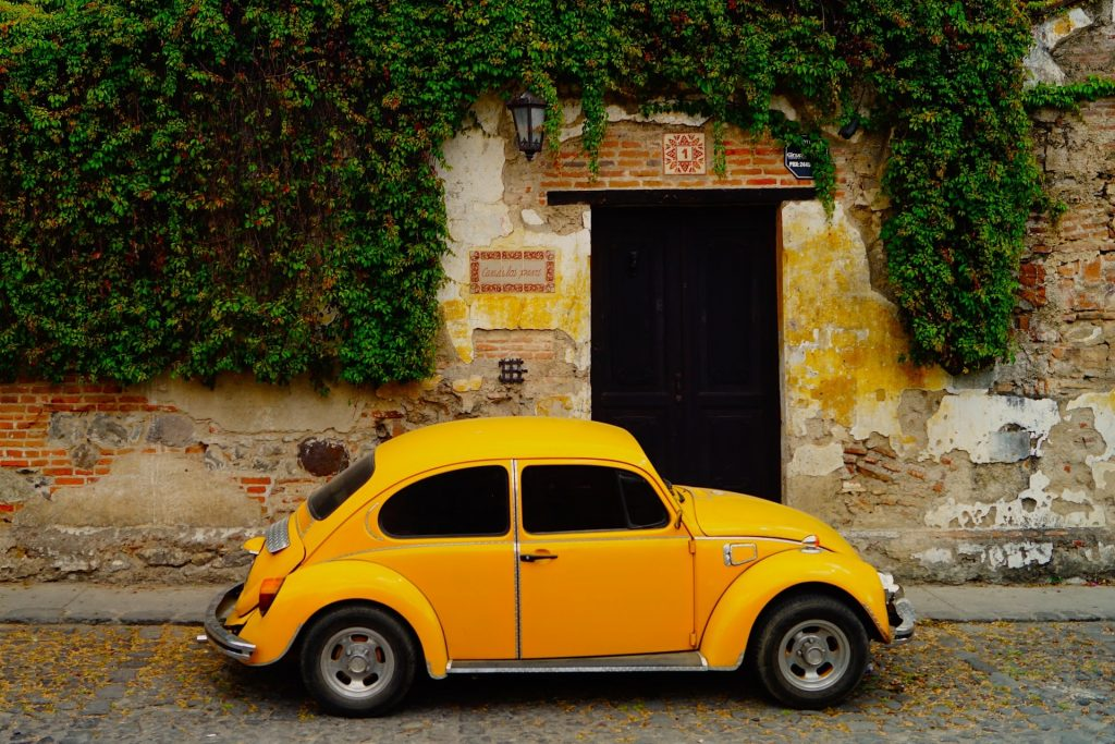 Countries, Guatemala, yellow car, street